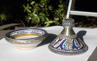 Antique Fes Fez 2 Pc.  Tagine,  Moroccan Hand Painted Pottery,  Silver Trim,  Signed photo