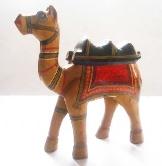 Old Vintage Hand Crafted Wooden Lacquer Painted Decorative Camel Toy photo