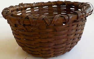 19th Century Woven Circle Splint Basket Magnificent Form Rare Condition photo
