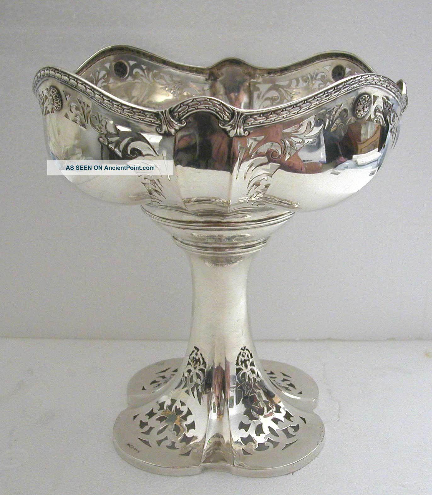 A Stunning Art Nouveau - Antique Jugendstil German Solid Silver Center Piece Germany photo