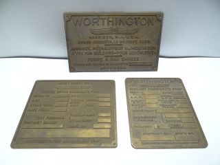 Vintage Brass Worthington Harrison Auxiliary Condensate Pump Industrial Plaques photo