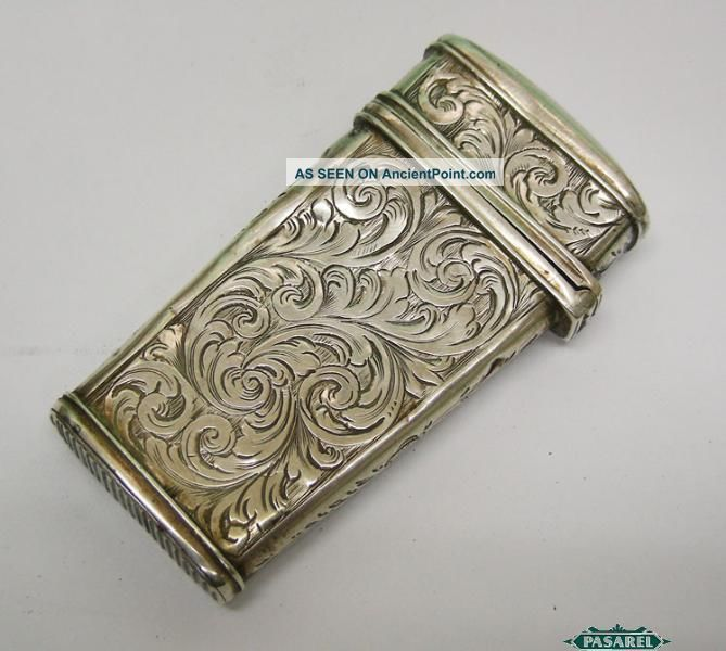 Antique Continental Silver Match Safe Box Etui Hinged Lid Europe Ca 1850 Other photo