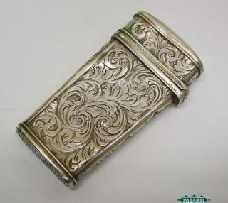 Antique Continental Silver Match Safe Box Etui Hinged Lid Europe Ca 1850 photo