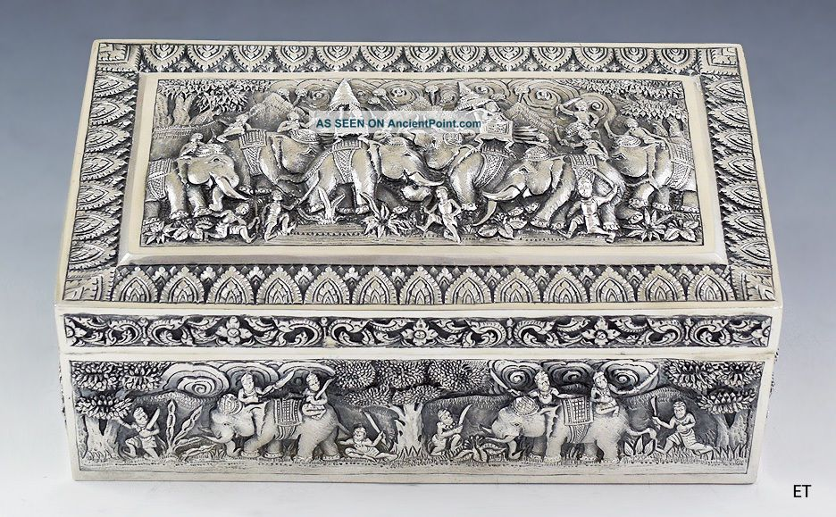 Must See 1800s Thai / Indian Silver Repousse Box Elephants & Warriors Design Asia photo