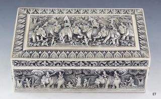 Must See 1800s Thai / Indian Silver Repousse Box Elephants & Warriors Design photo