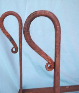 Early American 18th 19th Century Hand Wrought Andirons photo