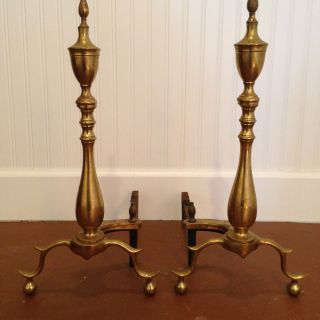 Traditional Brass Steeple Fireplace Andirons - - photo