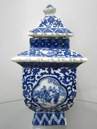 Chinese Porcelian Pot Blue And White Ceramic Glaze With Lid Tower Shape Old photo
