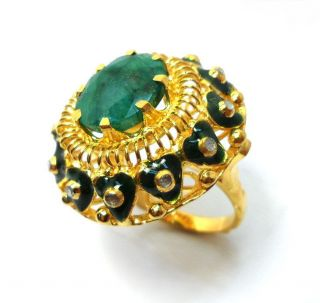 Rose Cut Diamond & Emerald Gold Plated Vintage Look Jewelry Ring Size Us 8.  5 photo
