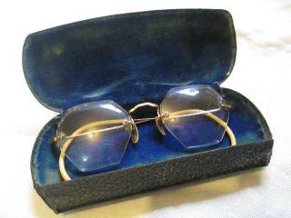 Antique 1920 Vintage A.  J Bowers Opticians Stoneham Ma 12k Gold Filled Eyeglasses photo