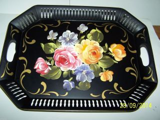 Vintage Tole Reticulated Metal Handpainted Floral Tray Cut Outs Handles 17 In. photo