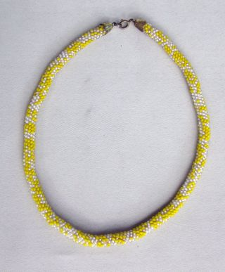 Antique Vintage Bulgarian White And Yellow Beads Beadwork Ethnographic Necklace photo