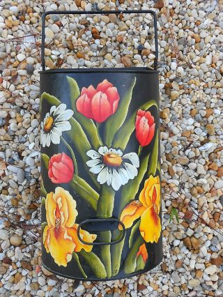Vintage Tole Painted Coal Scuttle - Signed