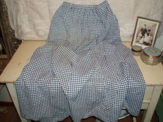 Antique Country Primitive Homespun Blue White Gingham Check Long Apron 19th C photo
