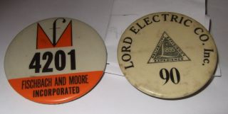 Vintage Factory Badge 2 Vintage Badges Fischbach & Moore Lord Electric Company photo