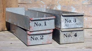 Vintage Galvanized Parts Drawer Bolt Bin Industrial Decor Shop Metal Tool Box photo
