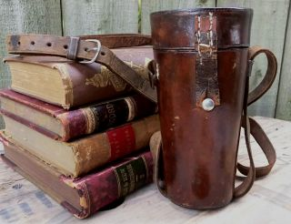 Antique 19th C.  Hand - Sewn Leather Telescope Travel Case Hunting Flask Holder Vtg photo