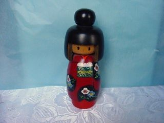 Vintage Japanese Handpainted Kokeshi Doll - Large Red Floral Kimono photo