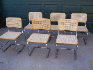 Set Of 6 Authentic Marcel Breuer Side Chairs Cane Chrome Tubular Made In Italy photo