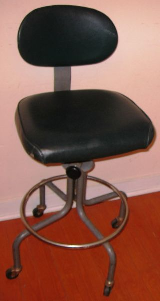 Interroyal Adjustable Rolling Swivel Shop Chair.  Industrial.  Machine Age Vintage photo