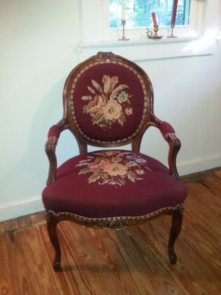 Antique Victorian Needlepoint Chair Walnut Rose Carvings Pick Up In Nyc Or Pa photo