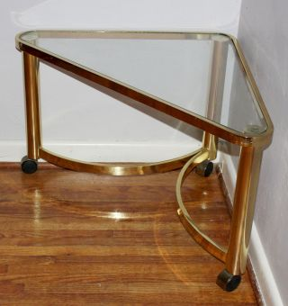 Vintage Mid Century Hollywood Baughman Style Brass & Glass Rolling Corner Table photo