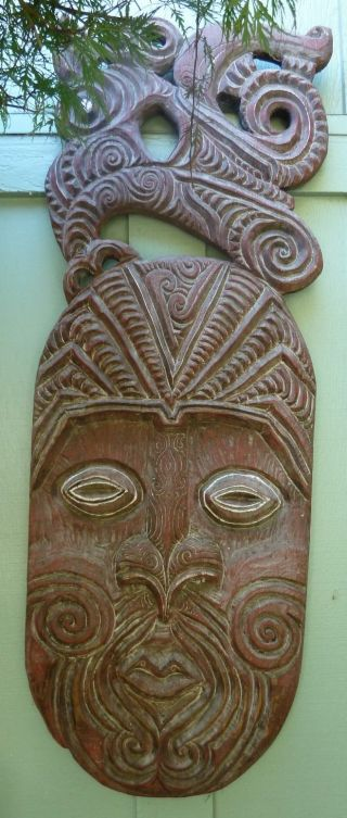 Pacific Rim Wood Carving Folk Art / Portrait / Large Wooden Wall Hanging photo