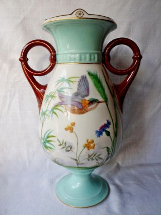 Large Antique Hand Painted Porcelain Urn Aesthetic Movement Hummingbird Vase photo