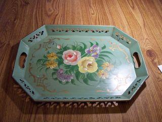 Vintage Pilgrim Art Handpainted Floral Tole Tray 18