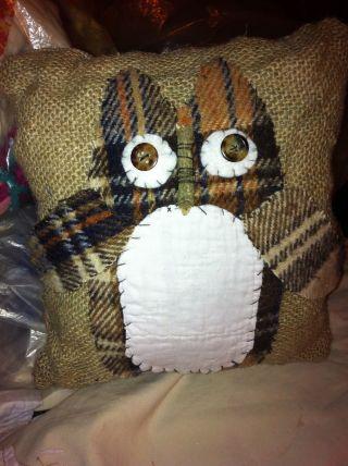 Primitive Feedsack Burlap Owl Handsewn Antique Quilt Trimmed photo