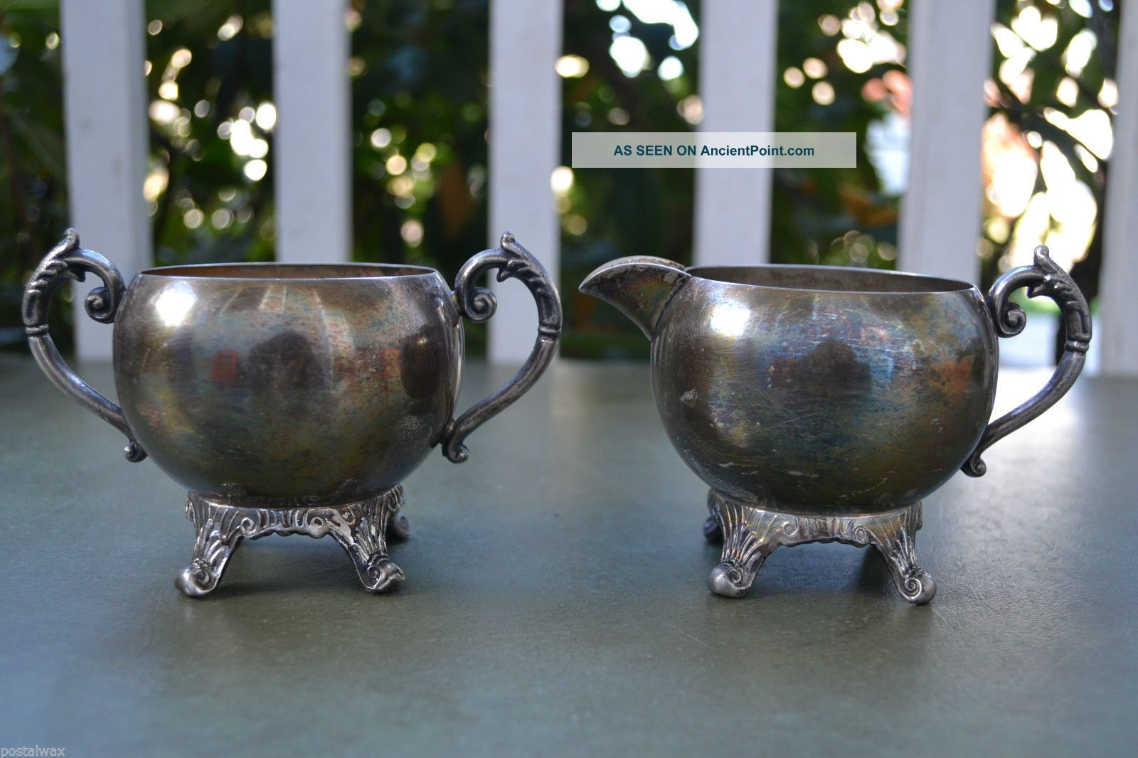 Adh 19th Cent.  Unmarked Silver Plated Sugar Bowl & Creamer Set Creamers & Sugar Bowls photo