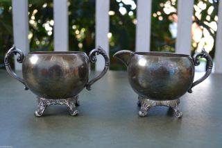 Adh 19th Cent.  Unmarked Silver Plated Sugar Bowl & Creamer Set photo