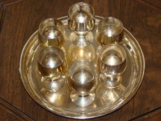 Vintage E.  P.  N.  S.  Silverplate Set Of 6 Cups &1 Tray/plate Marked Made In India photo
