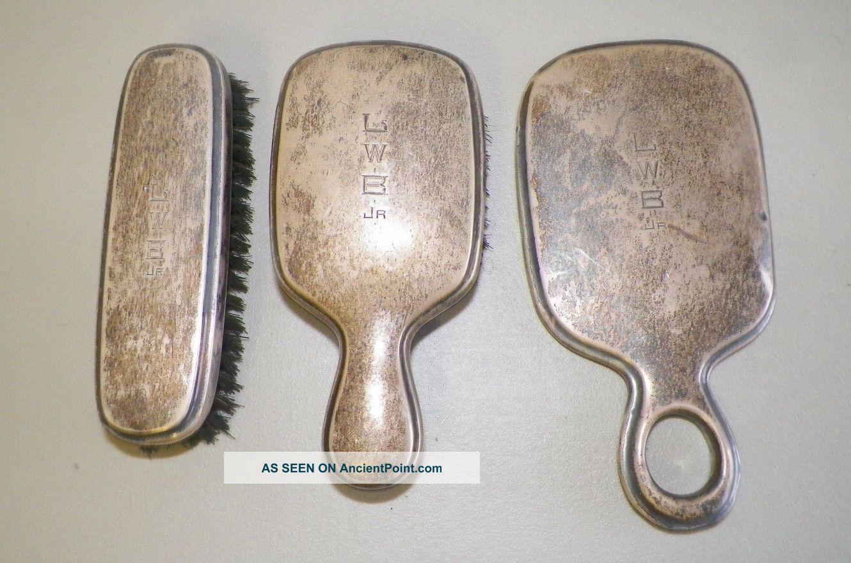 Vintage Men ' S Sterling Silver Three Piece Vanity Set Monogrammed International Brushes & Grooming Sets photo