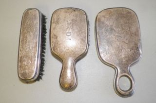 Vintage Men ' S Sterling Silver Three Piece Vanity Set Monogrammed International photo