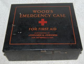 1925 Wood ' S Emergency Case With Partial Orginal Contents Medical First Aid photo