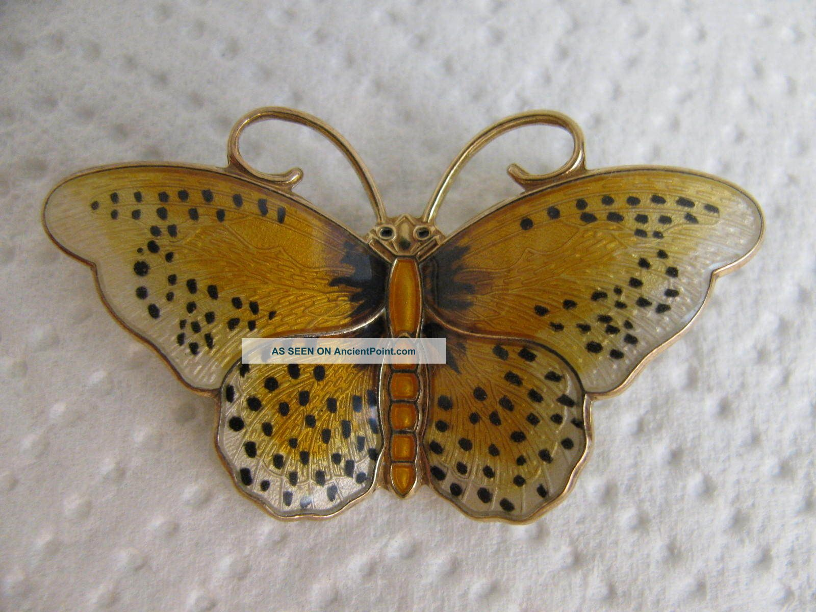 H.  Prydz Norway Sterling Silver Enamel Butterfly Pin Brooch Other photo