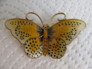 H.  Prydz Norway Sterling Silver Enamel Butterfly Pin Brooch photo
