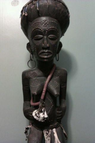 African Tribal Ancestor Statues,  Wood,  Dark Brown Patina,  Large 44