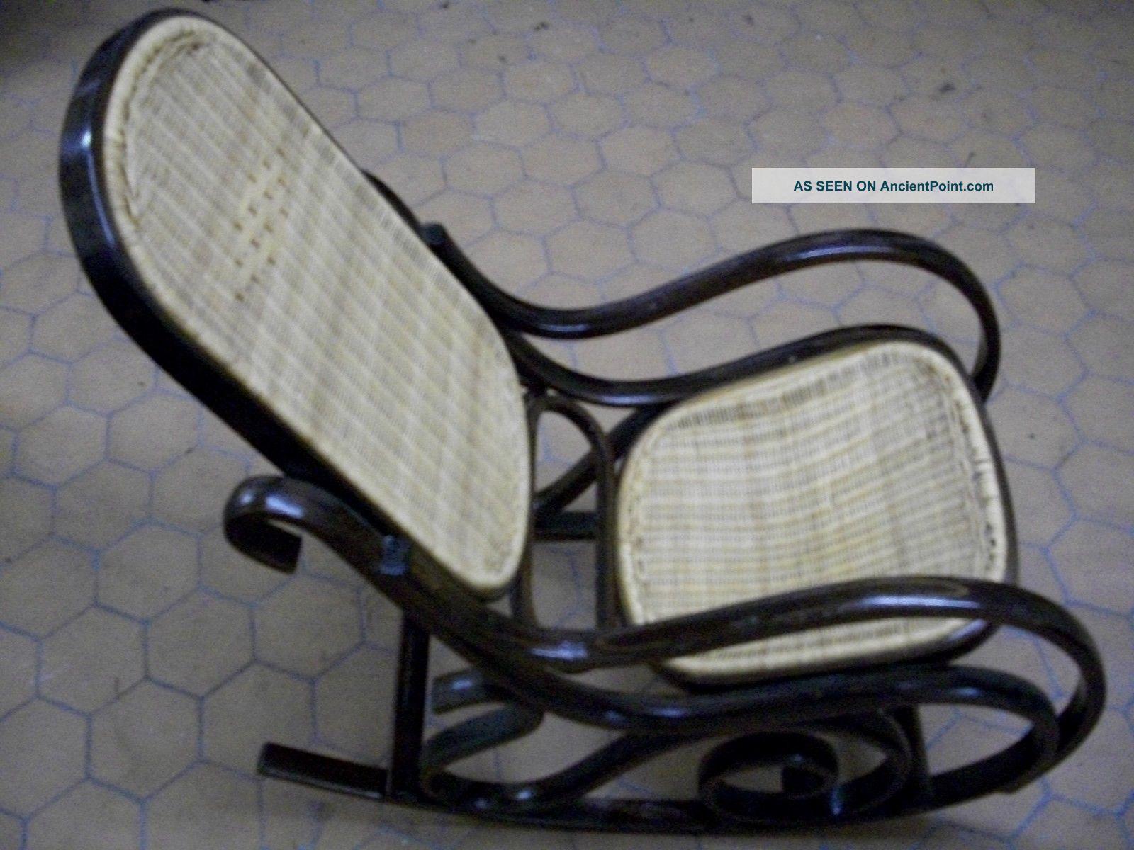 Large Person Antique Rocking Chair Edwardian Style Dark Wood Tone 44 X 22 X  39