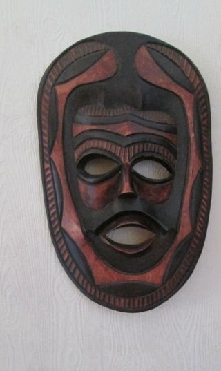 Vintage Large African Hand Carved And Decorated Wooden Mask photo