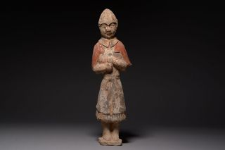 Ancient Chinese Northern Qi Painted Terracotta Pottery Soldier Figure - 550 Ad photo