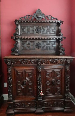 Antique English Carved Oak Cabinet Sideboard Bookcase Renaissance Carved Lion photo