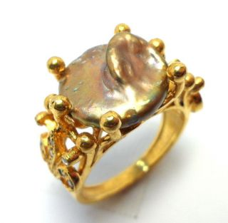 Rose Cut Diamond & Natural Pearl Gold Plated Antique Look Jewelry Ring Size 7.  75 photo