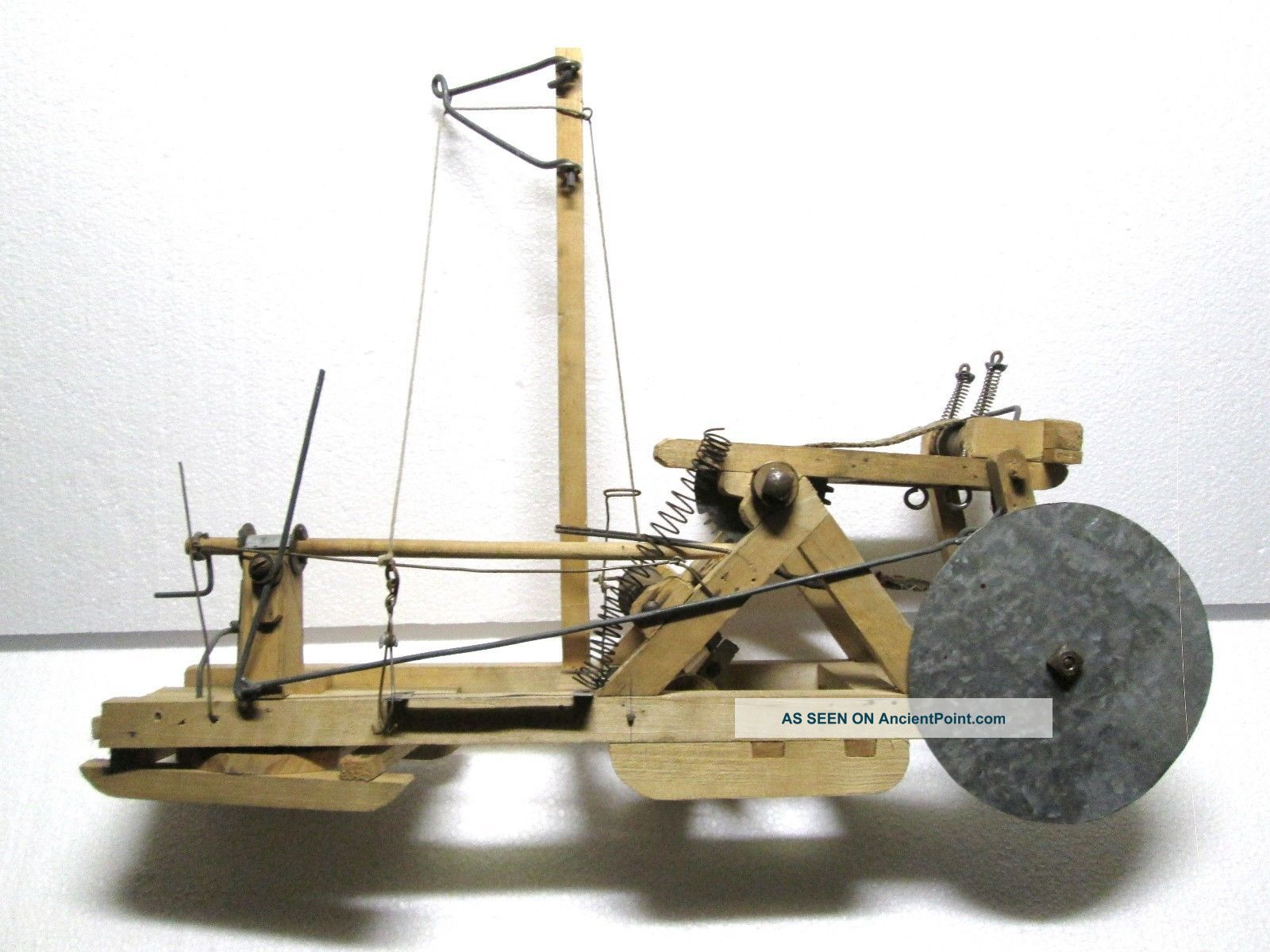 Early Hand Made Old Folk Art Wood Model Ice Harvester Saw Door County Wi. Ice Boxes photo