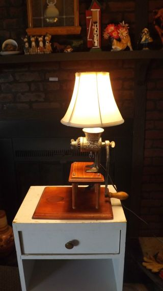, Handmade,  Antique Meat Grinder Lamp.  Great For Lodge Or Cabin,  Cool photo
