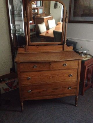 Antique Dresser With Mirror photo