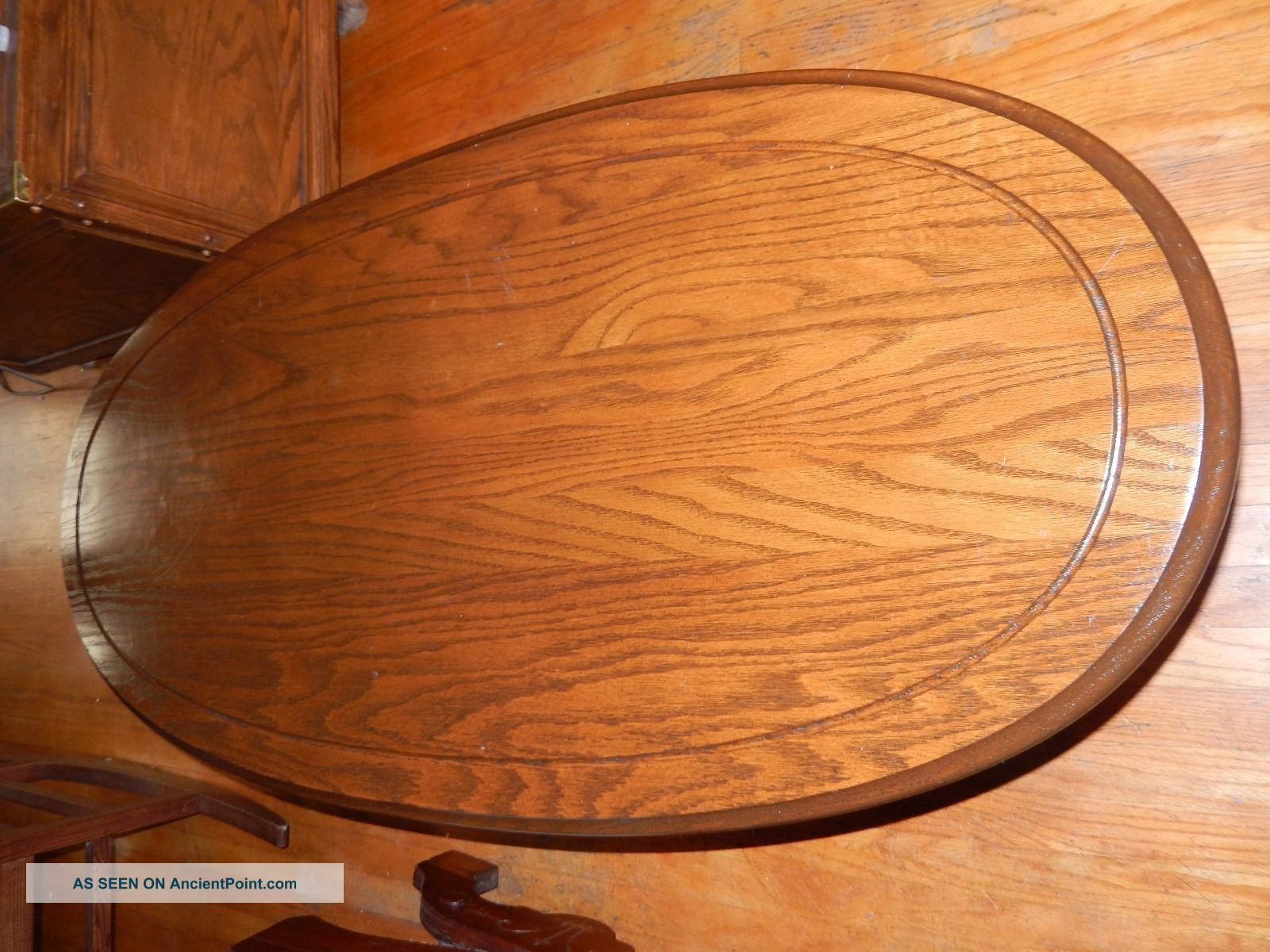 Antique Oval Top Oak American Coffee Table Unknown photo