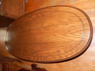 Antique Oval Top Oak American Coffee Table photo