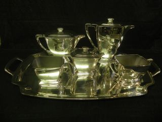 Extremely Rare1847 Rogers Bros Silverplate Legacy Pattern Holloware Tea Set. photo